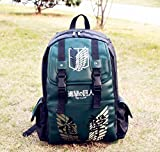 Volyer Backpack Shoulders Anime Leisure Pu Shoulder Bag Backpack Bags Rucksack 9 Styles (Army Green Attack on Titan B)