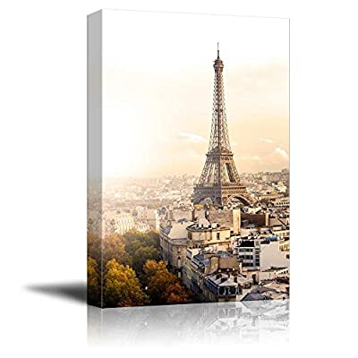 Canvas Prints Wall Art - Aerial View of Paris and Eiffel Tower at Sunset Vintage/Retro Style | Modern Wall Decor/Home Art Stretched Gallery Canvas Wraps Giclee Print & Ready to Hang - 36