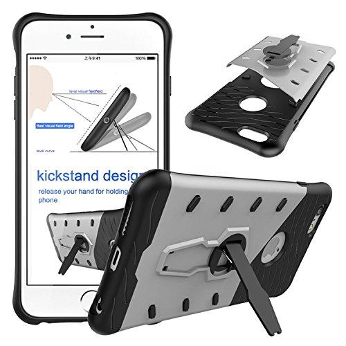 Meimeiwu Stilvolle TPU 2-Schicht-Schutz Durable Fall-Abdeckung mit Kickstand für Iphone 6 Plus 6S Plus,Grau