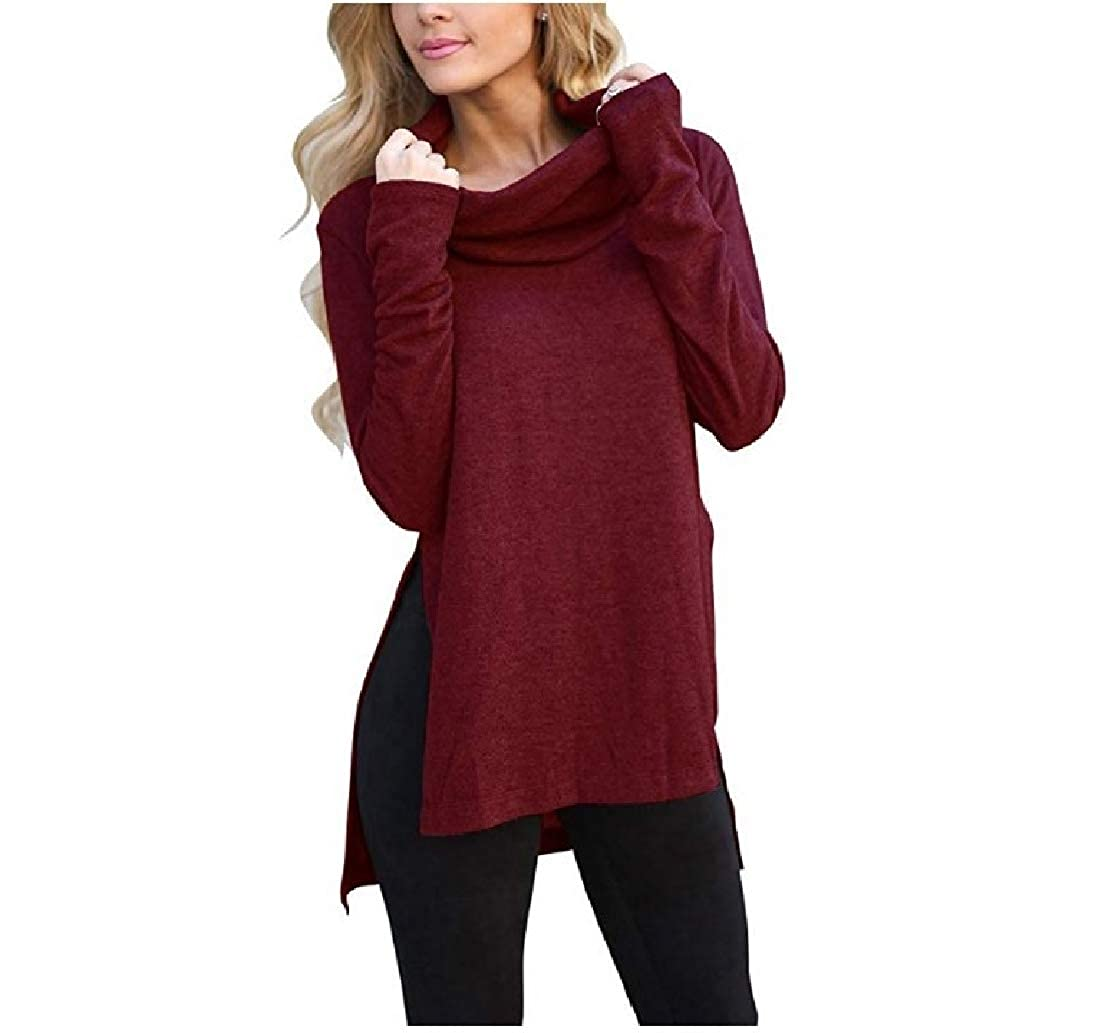 ColourfulWomen Long Sleeve Cowl Neck Asymmetrical Draped Open Hem Solid Color Sweater Tunic