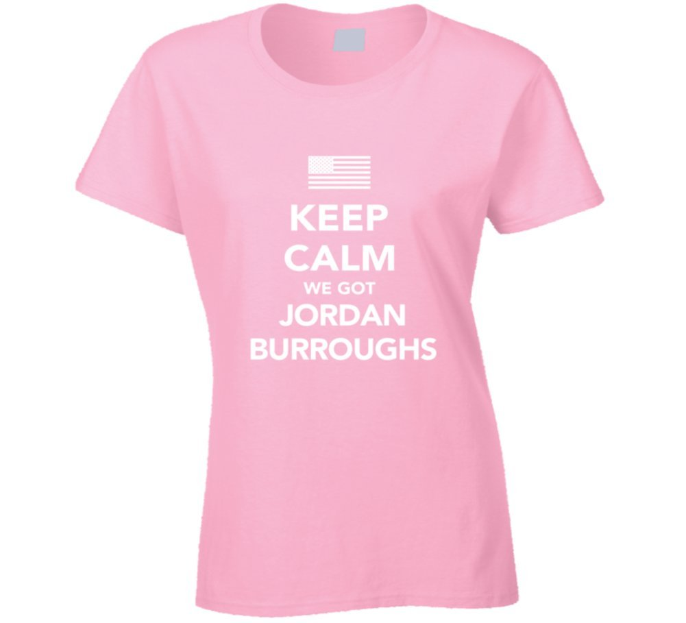 Jordan Burroughs Keep Calm USa 2016 Olympics Wrestling Ladies T Shirt 2XL Light Pink