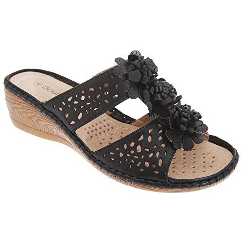 Boulevard Womens / Ladies 2 Barres Perforées Mule Compensées Sandales Noires