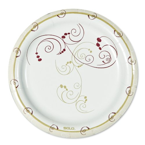 SOLO MWP9SYM Symphony Design Medium Heavy Weight Paper Dinnerware Deep Well Plate, 9