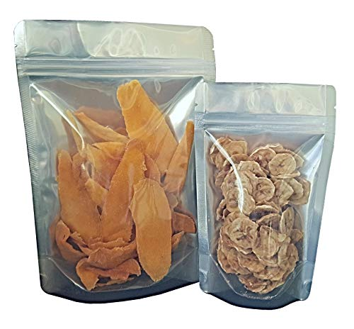 Pleasant Grove Farm 7 Mil Clear Front Mylar Bags Stand Up Gusseted Pouch in Multiple Sizes (50, 1 PINT 5 x 8 inch)