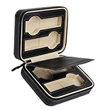 Dovewill PU Leather 4 Slots Watches Travel Case Box Collector Storage Protection Zipper Box