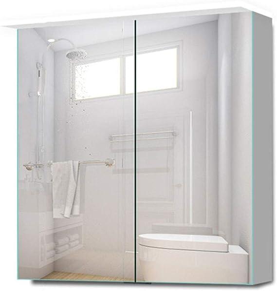 Armarios con espejo Mueble De Espejo para Baño con Puerta Doble ...