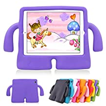 iPad Air 2 Kids Case iPad Air Kids Case Lioeo Cute 3D Cartoon Light Weight Shock Proof Durable Protection Cases EVA Foam Protective Children Cases and Covers for Apple iPad 5 6 Generation (Orange) (Purple)