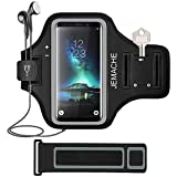 Galaxy Note 9/8 Armband, JEMACHE Gym Run Workout Water Resistant Arm Strap Holder for Samsung Galaxy Note 9/8 / 5 Fits Otterbox Defender, Lifeproof Case (Black)