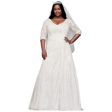 Draped Lace A Line Plus Size Wedding Dress Style 9wg3896 At Amazon