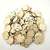 Baost 120Pcs Round Heart Star Mixed Wooden Slices Blank Name Tags with Hole Wood Art Craft Pieces Handmade Tag Label Wooden Buttons Wooden Hanging Pendant Tag DIY Decor Mixed Style