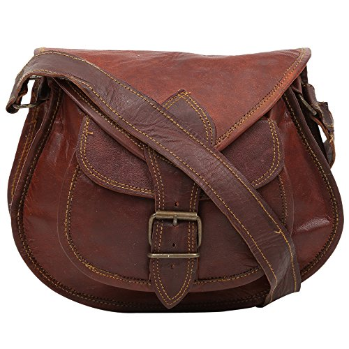 Desert Town zip Chiusura borsa Sling bag a mano da donna in vera pelle, colore: marrone
