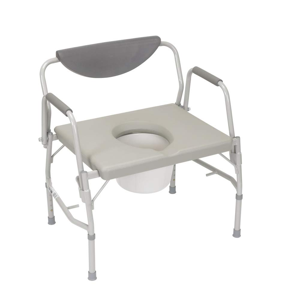 Drive Medical Deluxe Bariatric Drop-Arm Commode, Grey by Drive Medical