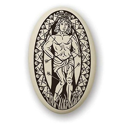 (Touchstone St Sebastian Porcelain Oval Medal on Braided Cord | Patron Saint of Athletes and Soldiers)