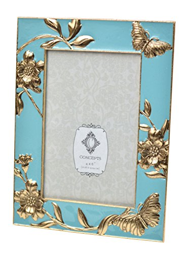 Concepts Blue Cast Metal Picture Frame With Gold Butterfly Flower 4