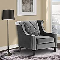 Armen Living LC8441GRAY Barrister Side Chair in Grey Velvet and Black Wood Finish
