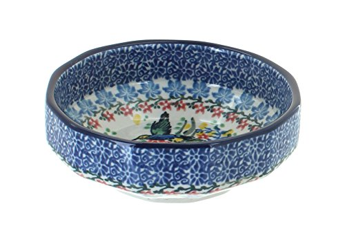Angular Bowl - Blue Rose Polish Pottery Hummingbird Small Angular Bowl