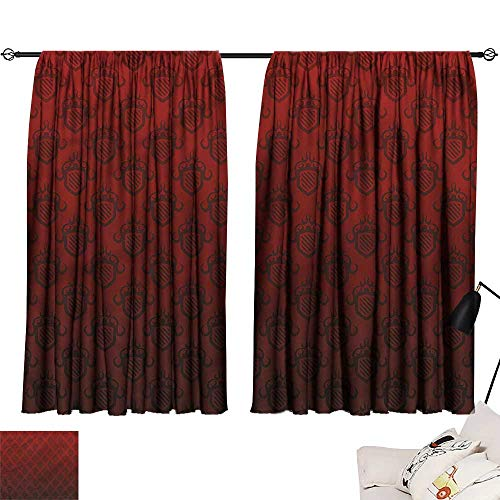 (Thermal Insulated Blackout Curtains Maroon,Venetian Style Royal Ancient 72