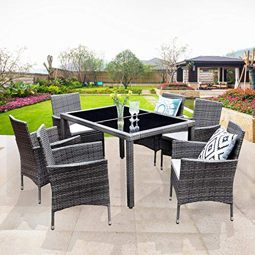 Wisteria Lane Outdoor Wicker Dining Set, 7 Piece Patio Dinning Table Grey Wicker Furniture Seating (Beige Cushions)