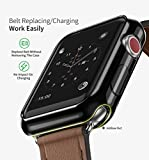 Apple Watch 3 Case, 2 Pack ARKFU iWatch 42mm Rugged Protective Slim Shock Resistant Soft TPU Case Bumper Cover Apple Watch 42mm Screen Protector Series 3 Series 2, Black and Clear