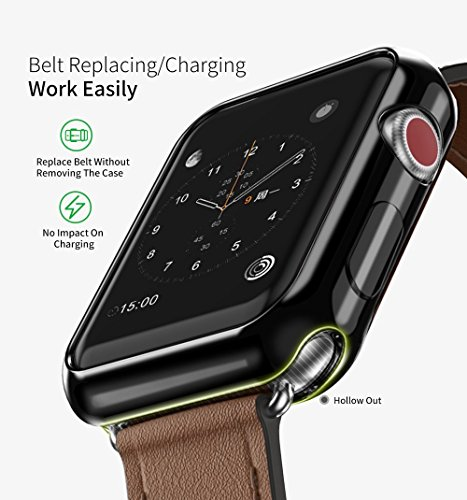 Apple Watch 3 Case, 2 Pack ARKFU iWatch 42mm Rugged Protective Slim Shock Resistant Soft TPU Case Bumper Cover Apple Watch 42mm Screen Protector Series 3 Series 2, Black and Clear by Ellenson