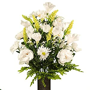 White Peony and Daisy Mix, featuring the Stay-In-The-Vase Design(C) Flower Holder (LG1951) 117