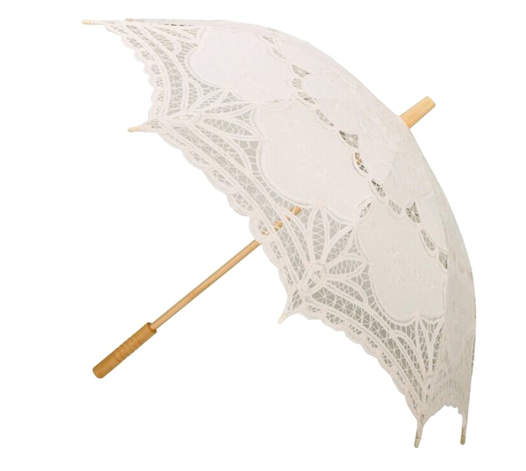 Fascigirl Handmade Battenburg Embroidery Lace Parasol Umbrella for Bridal Wedding