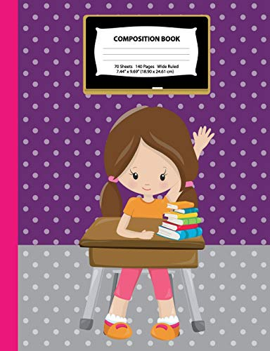 Composition Book: Wide Ruled - Brown Hair Girl w/ Ponytails in Class - 140 Pages (70 Sheets) - 7.44