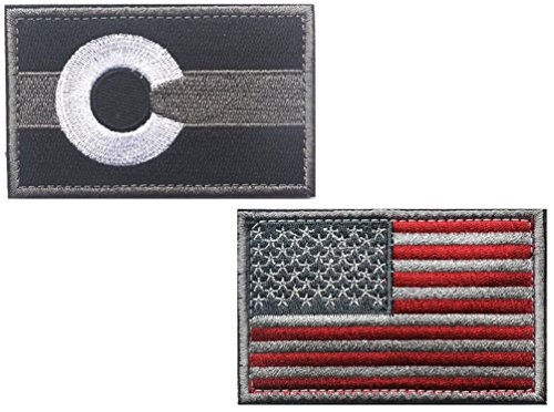 HFDA 2 piece US Flag and BW COLORADO Flag Patches Velcro Mor