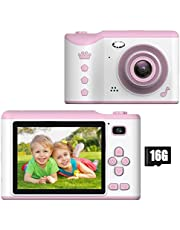 Kids Digital Camera - 18MP Children's Camera with Large Touch Screen for 3-12 Years Old Boys and Girls, Rechargeable Shockproof Camcorder Camera with 16GB TF Card,Pink
