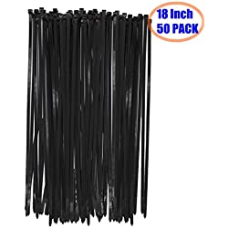 """Long Wide 18 Inch Nylon Zip Cable Ties-Large 120LB Tensile Strength-Heavy Duty Industrial Durable Strong Cable Ties- 50 Pack - Indoor Outdoor Garden Use(18"""" ,120LB, Black, UV Resistant)"""