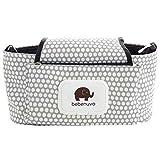 Stroller Organizer, Baby Stroller Pram Organizer Bag, Premium Quality Diaper Bag, Hanging Storage Bag Fits All Strollers, Extra-Large Storage Space, White Dot