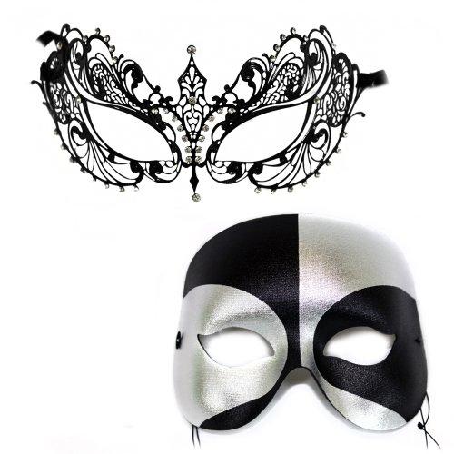 Corrine-Black Silver Masquerade Laser Cut Classic Masquerade Masks for a (Classic Masquerade Mask)