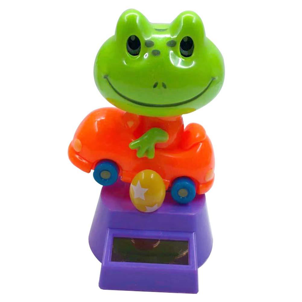 FAgdsyigao Kids Toys, Creative Plastic Solar Power Frog Car Ornament Flip Flap Pot Swing Toy Colorful