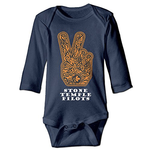 HYRONE Stone Temple Logo Pilots Baby Bodysuit Long Sleeve Romper Suits Size 12 Months Navy