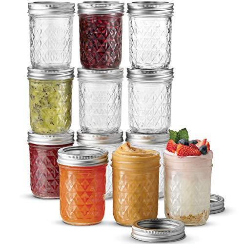 Ball Regular Mouth Mason Jars 8 oz, 12 Pack Canning Jars, With Regular Mouth Lids and Bands, For canning, Freezing, Fermenting, Pickling, Preserving - Microwave & Dishwasher Safe + SEWANTA Jar Opener ()