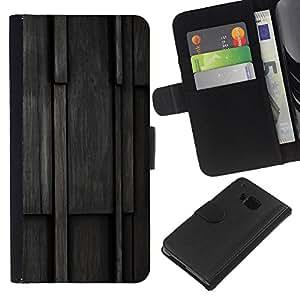 Planetar® Modelo colorido cuero carpeta tirón caso cubierta piel Holster Funda protección Para HTC One M9 ( Wood Pattern )