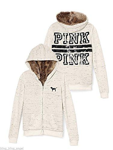 Fur Hoodie Cream (Victoria's Secret PINK Bling Sequin Marled Fur Hoodie Sweatshirt Jacket Medium)