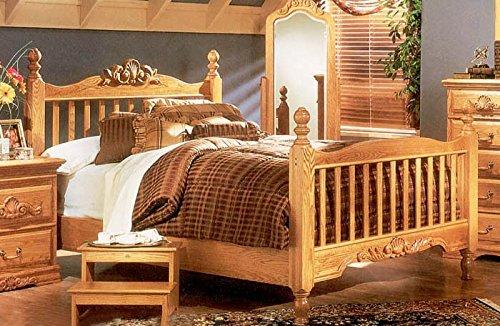 Bebe Furniture 4 Post Rake Bed in Northern Red Oak, Multicolor, California ()