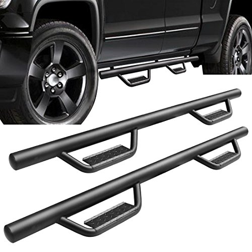 Double Cab Step Boards - AUTOSAVER88 Side Step Nerf Bar Compatible for 07-18 Chevy Silverado 1500 Ext/Double Cab / 07-18 GMC Sierra 1500 Ext/Double Cab Pickup Trucks 4-Door 3