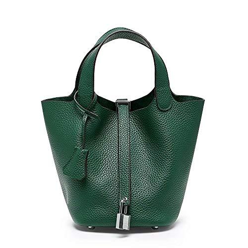N/V Women's Handbag Genuine Leather Litchi Pattern Fashion Hand Bucket Bag