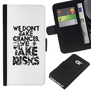 KingStore / Leather Etui en cuir / Samsung Galaxy S6 EDGE / Blanc prendre des risques Inspiring