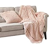 "Comfort Spaces Shaggy Long Fur Light-Weight Blanekt with Pillow Cover, Ultra Soft and Warm Throws for Couch, Bed, 50""x60"", Blush"
