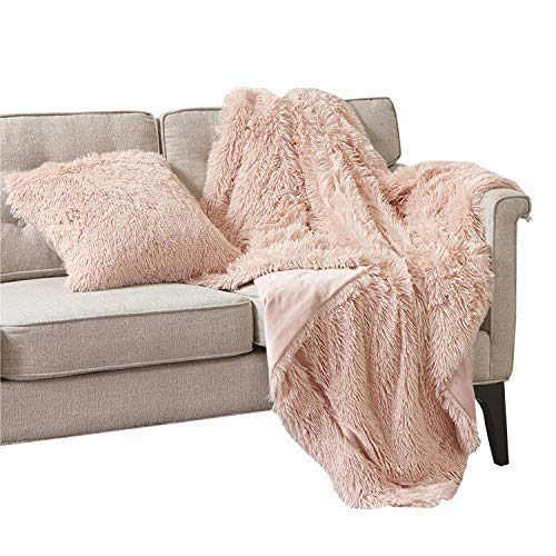 Comfort Spaces Shaggy Long Fur Light-Weight Blanekt with Pillow Cover, Ultra Soft and Warm Throws for Couch, Bed, 50