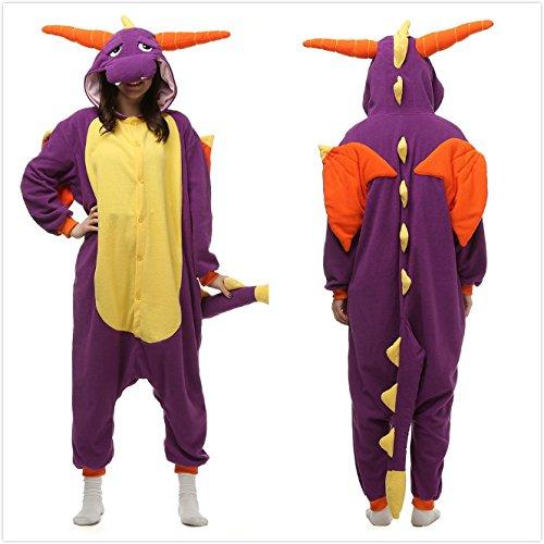 Yxjdress Unisex Purple Dragon Adult Pajamas Halloween Costume Adult Onesie Costume (Cute Halloween Costumes For Adults)