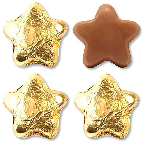 Madelaine Solid Premium Milk Chocolate Stars, Wrapped In Italian Foil (Gold, 1/2 LB)
