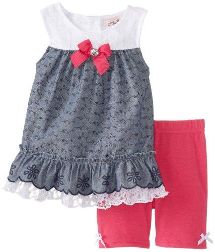 Little Lass Little Girls' 2 Pack Chambray Lace Short Set, Fuchsia, 2T