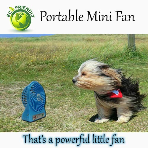 Price comparison product image Eco-Friendly Portable Rechargeable Mini USB Fan 3 Speeds with Light for Desk or Outdoors Handheld Size Battery 18650 Lithium Battery Last 6+ Hours (Blue,  Prime)