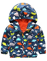 Little Boys Lightweight Cartoon Long Sleeve Fall Zip Hooded Coat Jacket Outwear