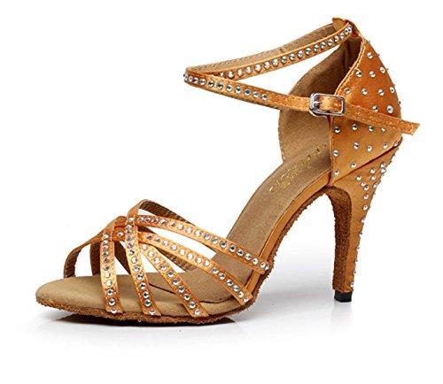 Alto Dorado de para YOGLY Satén 42 34 Zapatos Mujer de Adultas Salón Baile Tacon Danza de Latino Baile Sandalias Zapatos Tacón Diamante EU 10cm de wwBOXq8