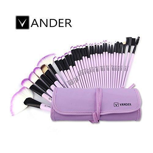 Vander Synthetic Kabuki Foundation Blending Makeup Brushes Kit with Bag - Purple
